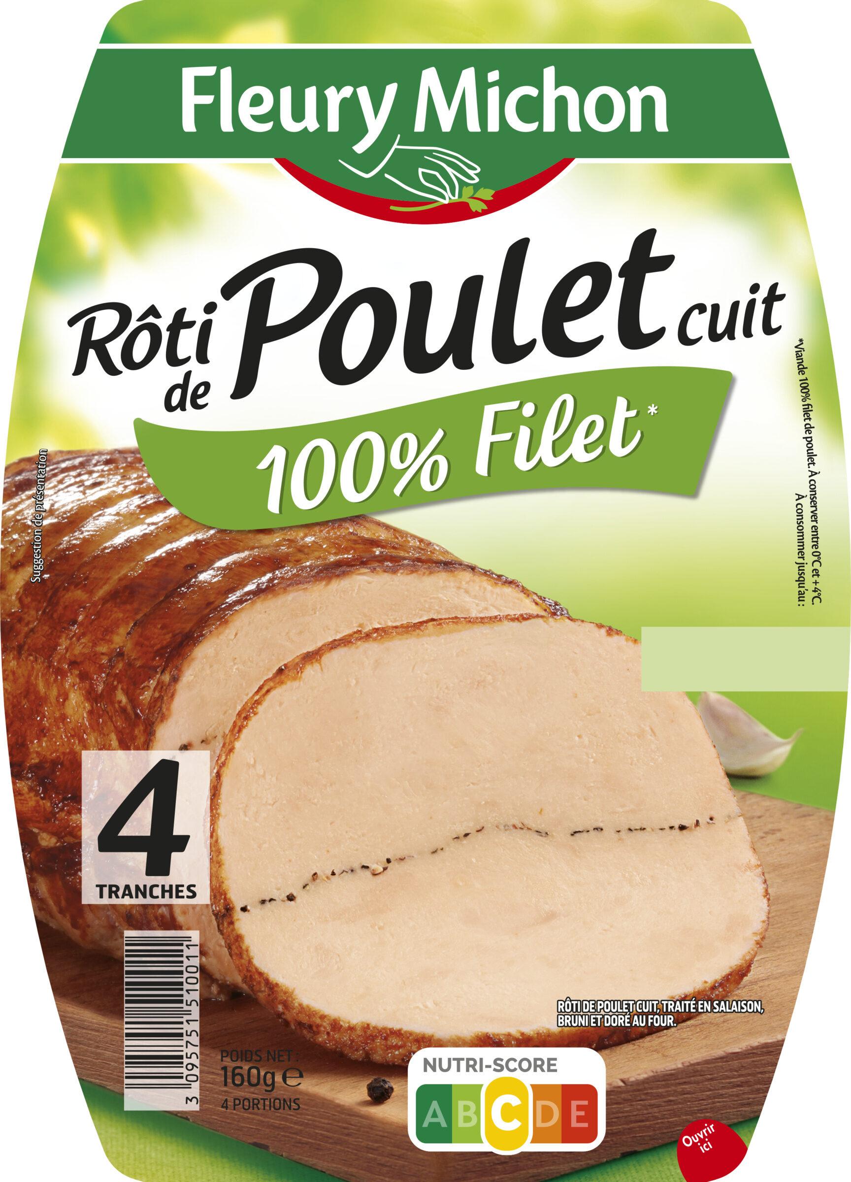 Rôti de poulet cuit 100% filet* - 4 tranches - Produit - fr