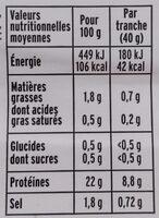 Rôti de poulet cuit 100% filet* - 4 tranches - Nutrition facts - fr