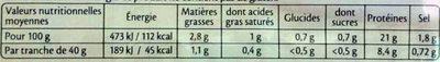 Le jambon de Paris sans couenne - 6 tr. - Informations nutritionnelles - fr
