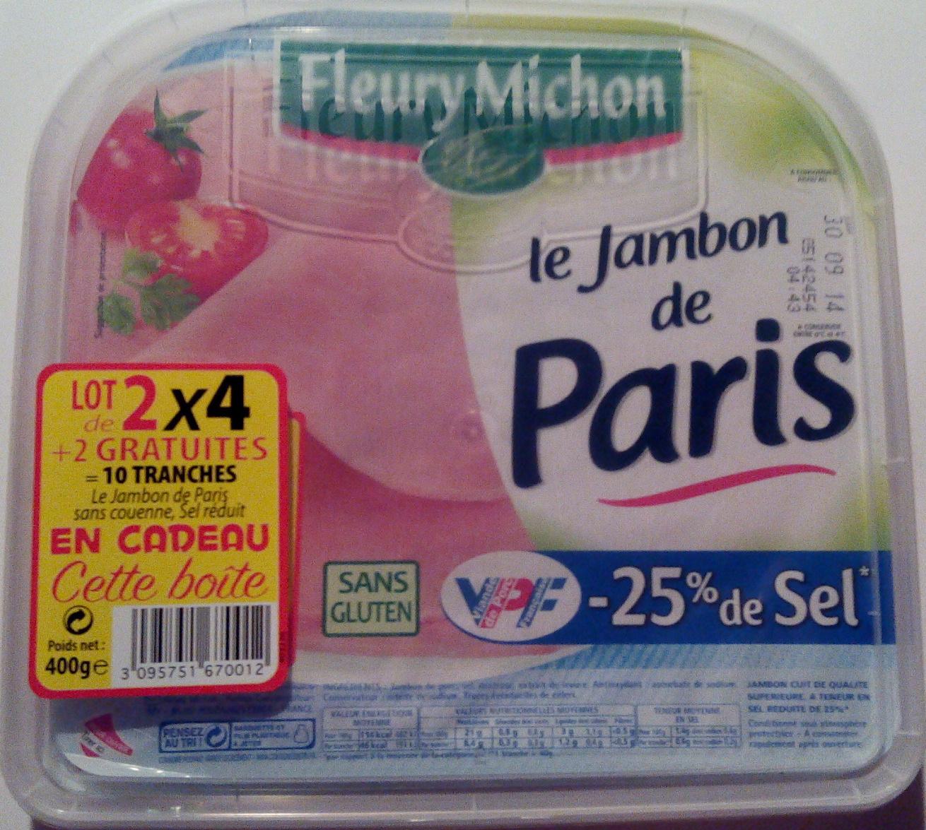 Le Jambon de Paris (- 25 % de Sel) Lot de 2 x 4 + 2 Gratuites = 10 Tranches - Produit - fr