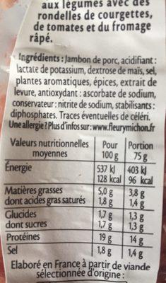 Râpé de Jambon - Fumé - Ingrédients - fr