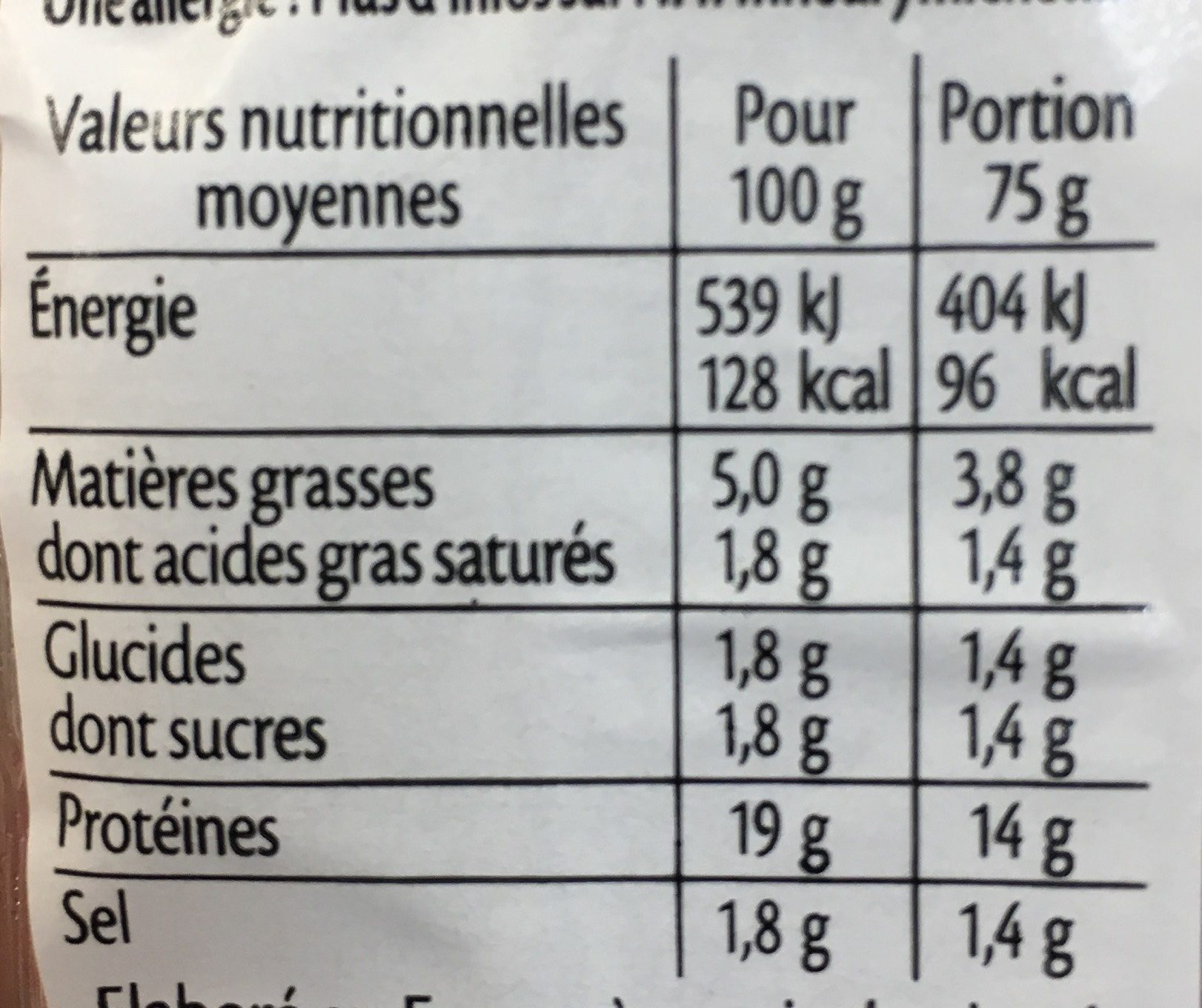 Dés de jambon de Paris - 2x75g. - Nutrition facts