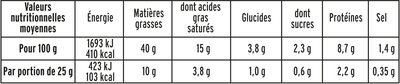 Mousse de foie de volaille halal - 180 g. - Informations nutritionnelles - fr