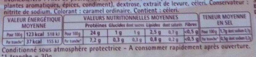 Filet de poulet fumé - 4 tranches épaisses - Voedingswaarden - fr