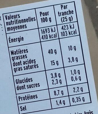 Mousse de foie de volaille - Valori nutrizionali - fr