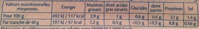 Le Jambon de Paris -25% de Sel - Voedingswaarden - fr