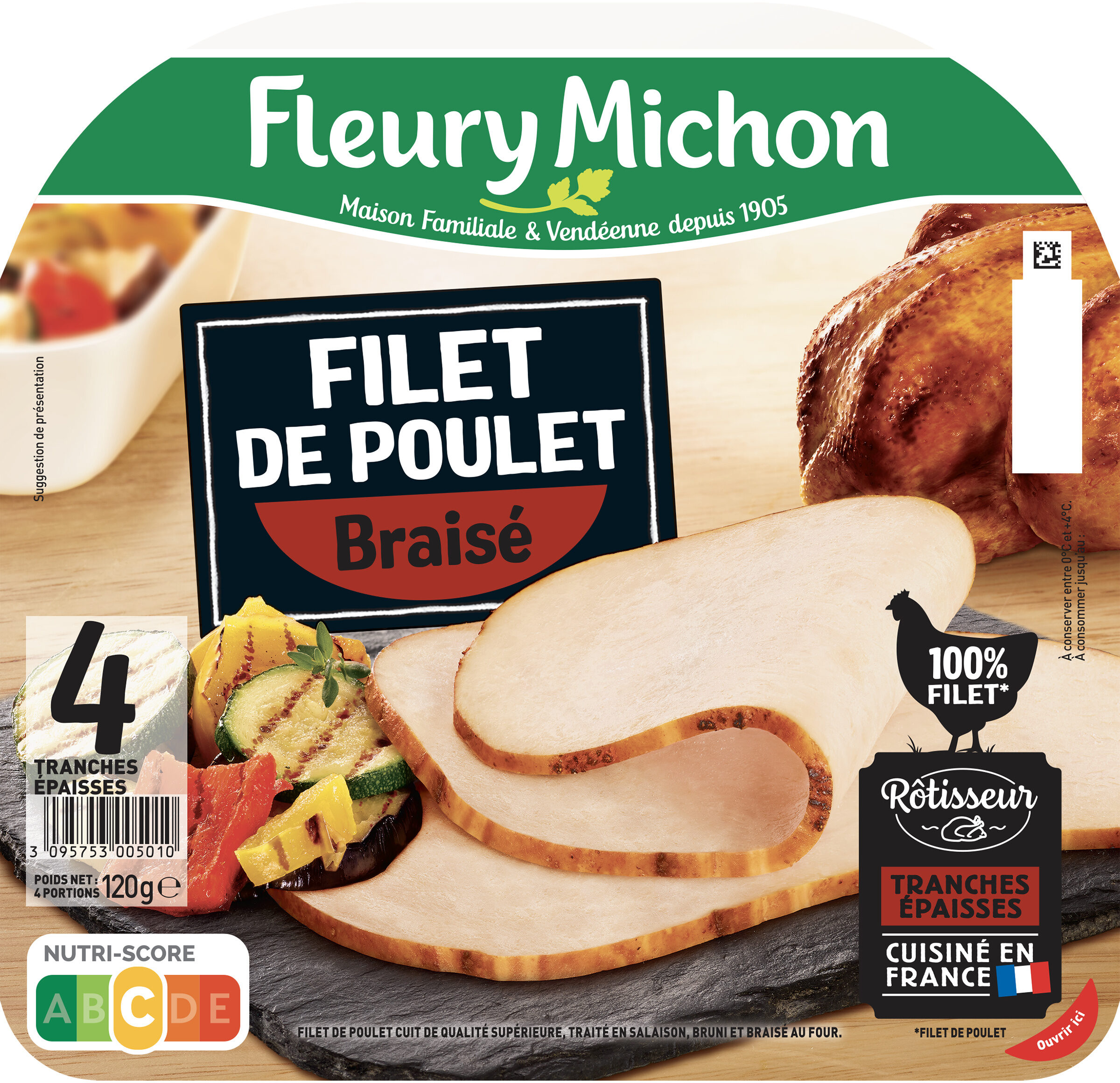 Filet de poulet braisé - 4 tranches épaisses - Prodotto - fr