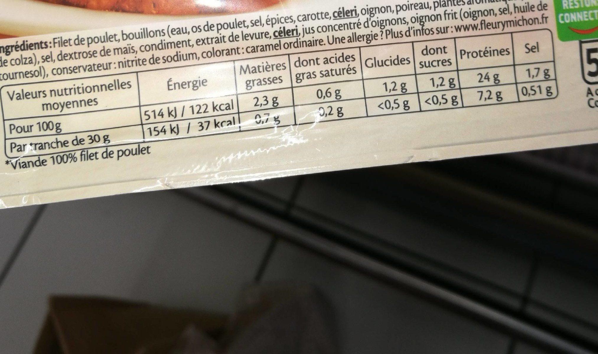 Filet de Poulet - Braisé - Informations nutritionnelles - fr