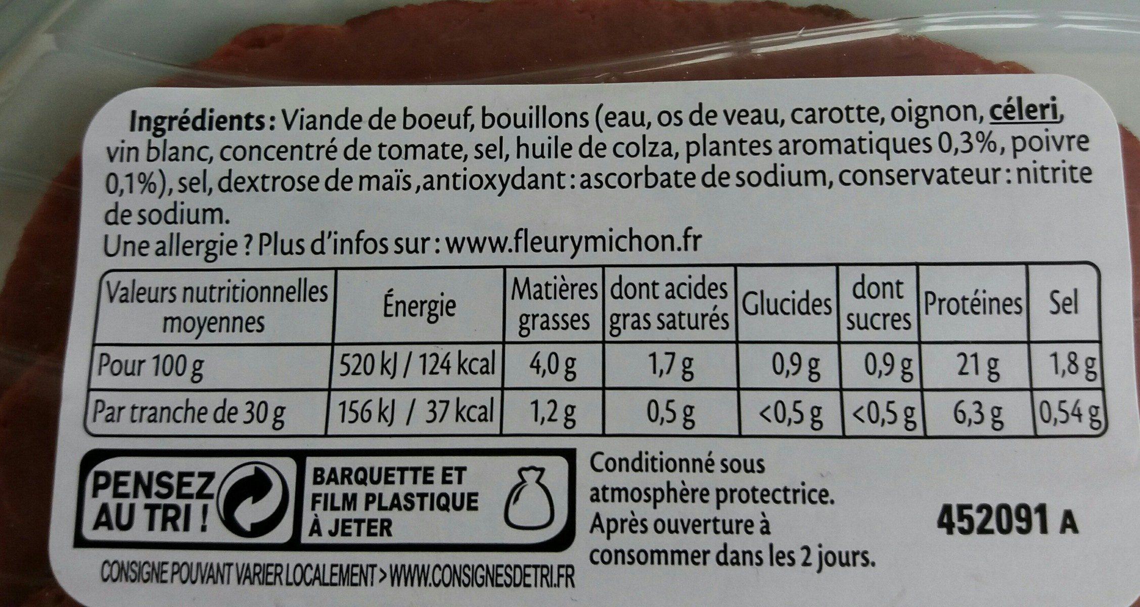 Rôti de boeuf cuit doré au four - 4 tranches - Ingredienti - fr