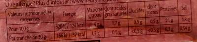 Rôti de boeuf cuit doré au four - 4 tranches - Valori nutrizionali - fr