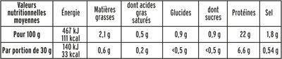 Rôti de poulet cuit halal  - 6 tr - Voedingswaarden - fr