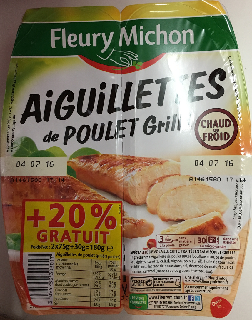 Aiguillettes de poulet grillé (+20% gratuit) - Product