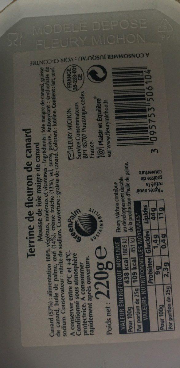 Terrine de fleuron de canard - Ingredients