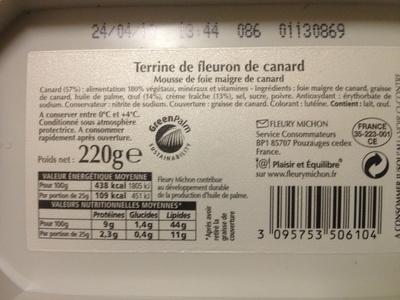 Terrine de fleuron de canard - Nutrition facts