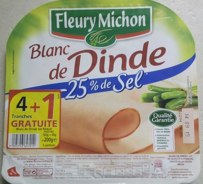 Blanc de dinde -25% de sel (4 tranches +1 gratuite) - Product - fr