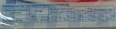 Le Torchon -25% de Sel - Nutrition facts