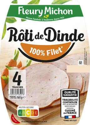 Rôti de dinde cuit 100% filet* - 4 tranches - Prodotto - fr
