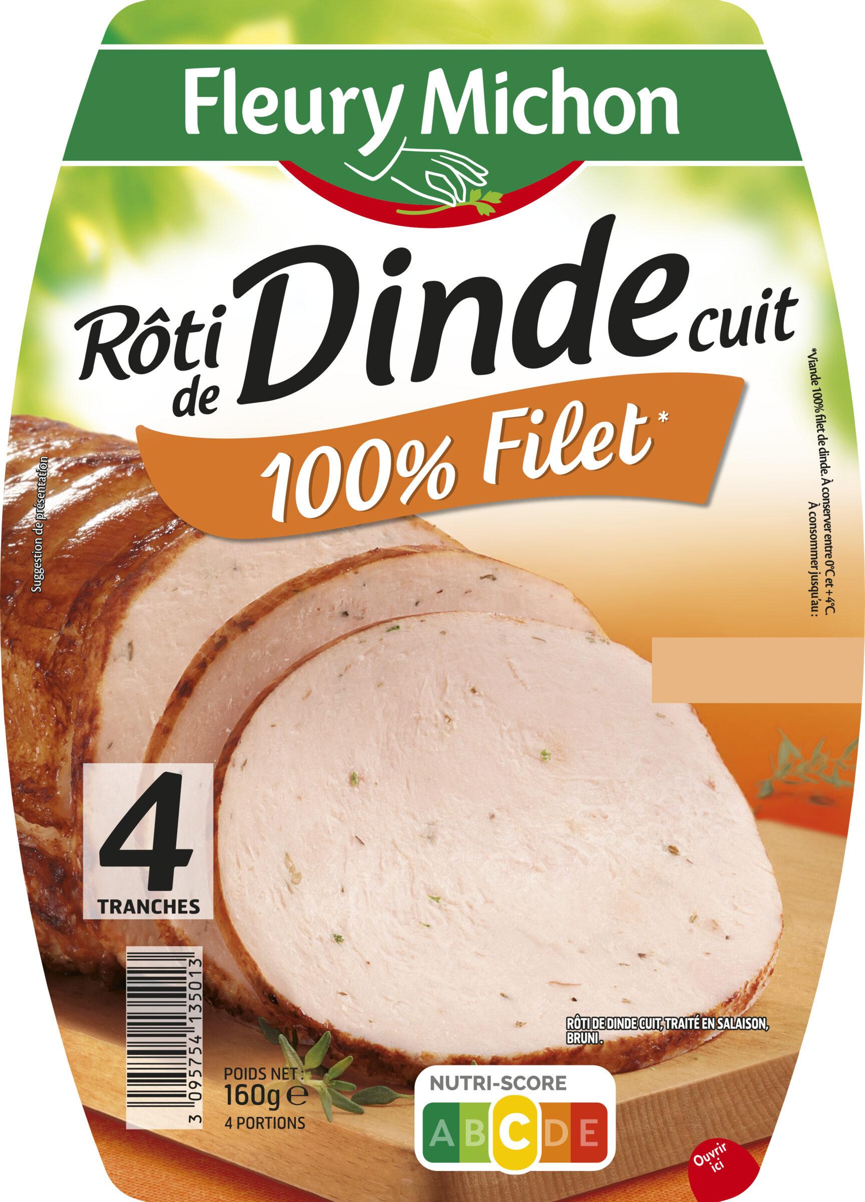 Rôti de dinde cuit 100% filet* - 4 tranches - Produit