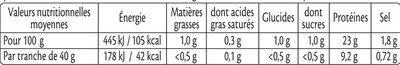 Rôti de Dinde - 100% filet* - Valori nutrizionali - fr