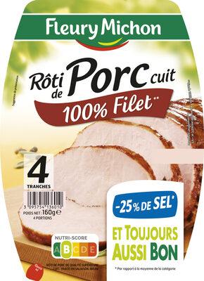 Rôti de porc cuit 100 % filet** -25% de sel* - 4 tr - Product
