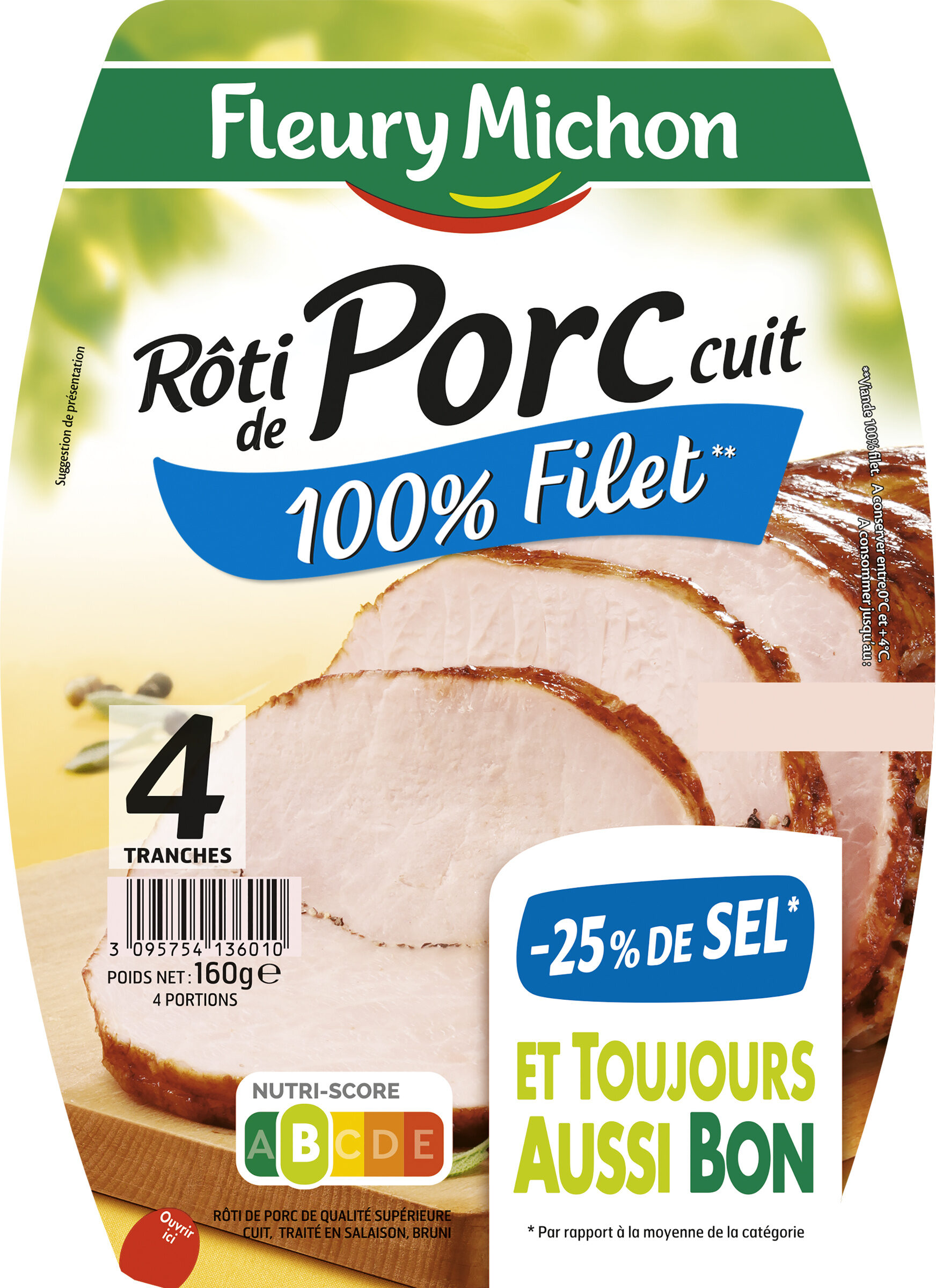 Rôti de porc cuit 100 % filet** -25% de sel* - 4 tr - Product - fr
