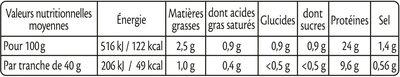 Rôti de porc cuit 100 % filet** -25% de sel* - 4 tr - Nutrition facts