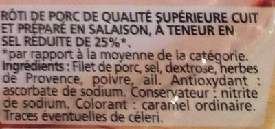 Rôti de Porc cuit (-25% de Sel) - Nutrition facts