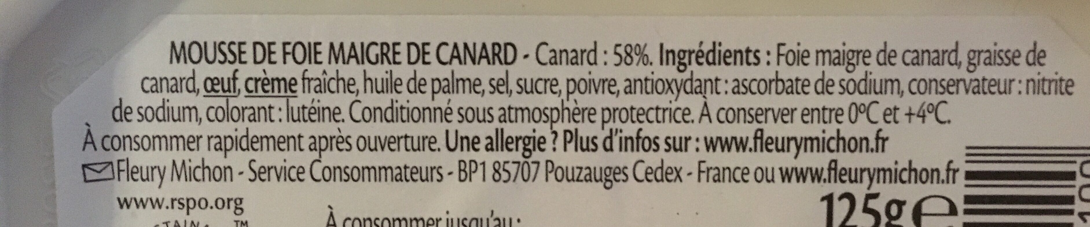 Fleuron de Canard - Ingredients