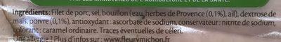 Rôti de Porc cuit (-25% de sel) (4+2 gratuites) - Ingrédients - fr