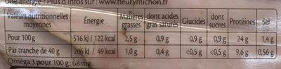 Rôti de Porc cuit (-25% de sel) (4+2 gratuites) - Informations nutritionnelles - fr