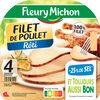 Filet de poulet  rôti - 25% de Sel* - 4 tranches épaisses - Produit