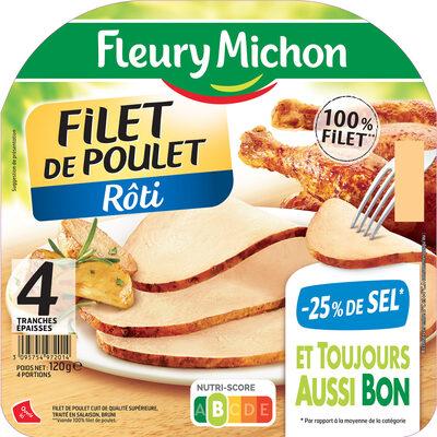 Filet de poulet  rôti - 25% de Sel* - 4 tranches épaisses - Produit - fr