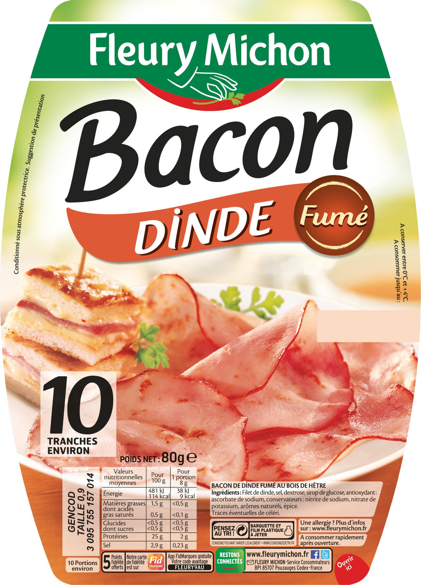 Bacon dinde fumé - 10 tranches environ - Produit - fr