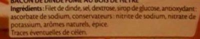 Bacon dinde fumé - 10 tranches environ - Ingrédients - fr