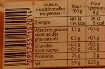 Bacon dinde fumé - 10 tranches environ - Informations nutritionnelles - fr