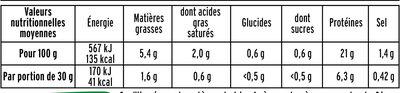 Le Tranché Fin - Dégustation - 25% de sel* - Informations nutritionnelles - fr