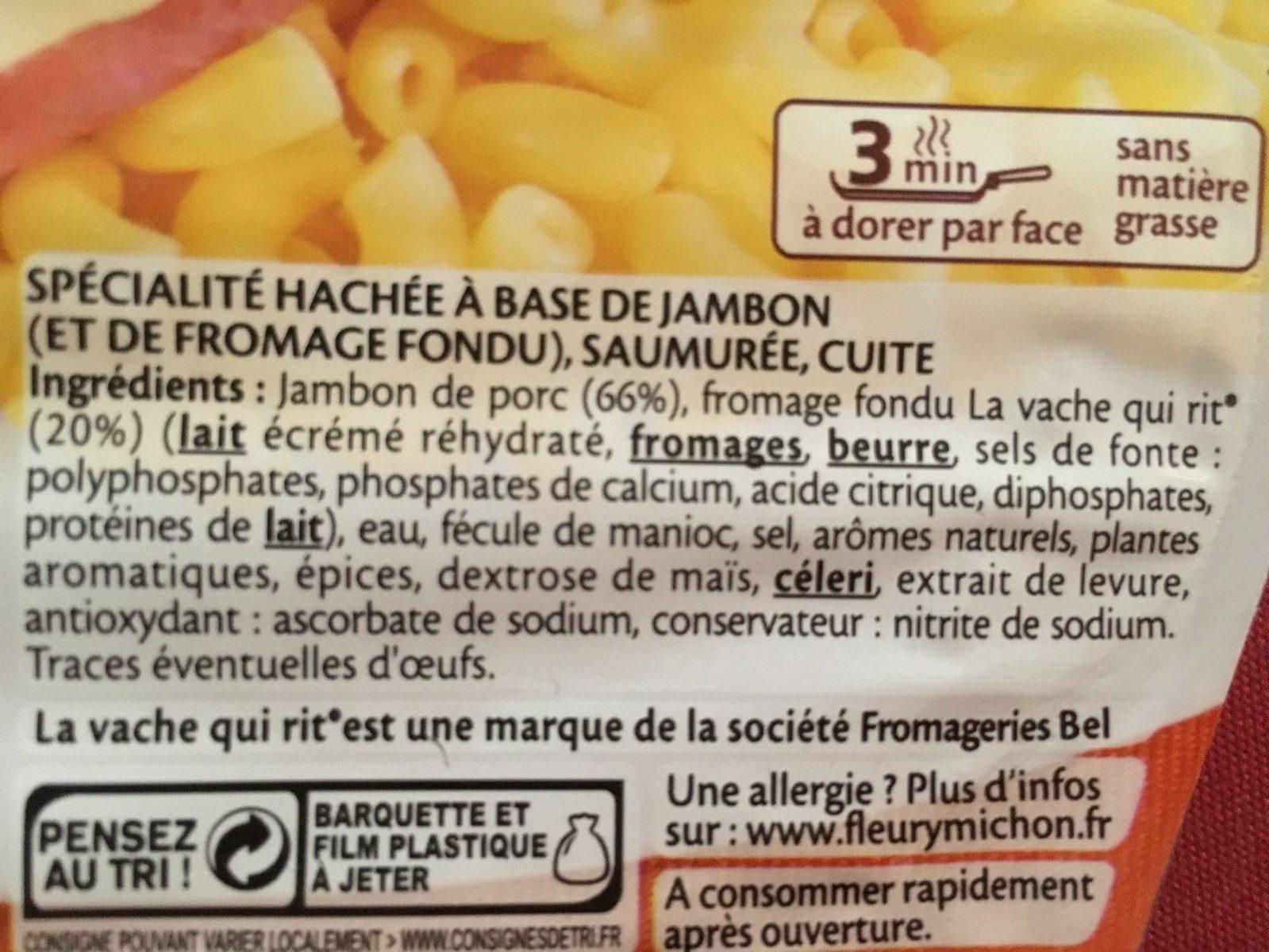 Le haché jambon au fromage la vache qui rit® - 2 pièces - Ingrédients - fr