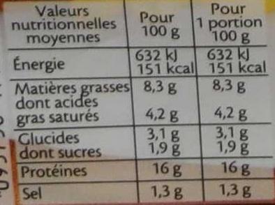 Le haché jambon au fromage la vache qui rit® - 2 pièces - Informations nutritionnelles - fr