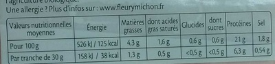 Le Supérieur Bio Torchon - Voedingswaarden - fr