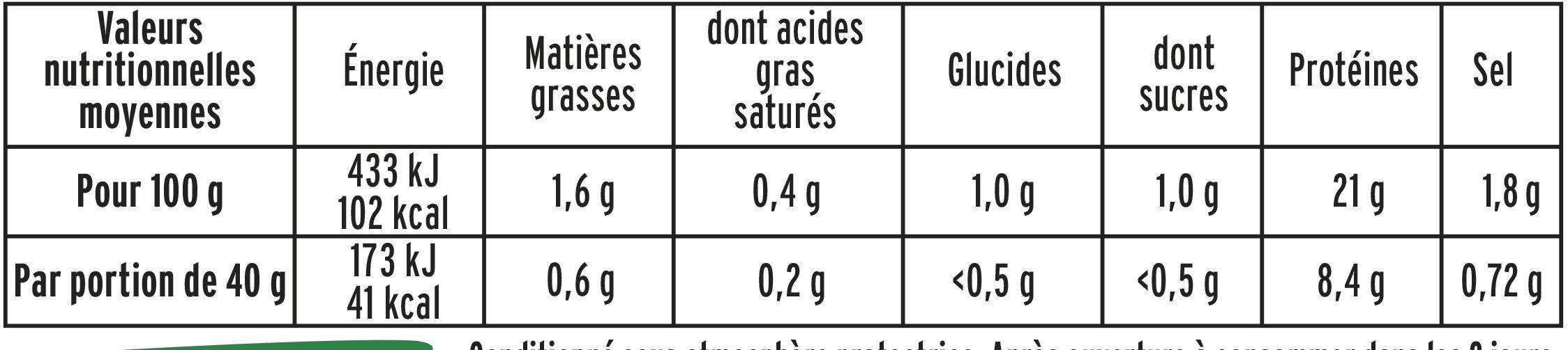 Blanc de poulet doré au four - 4 tr - Informations nutritionnelles - fr