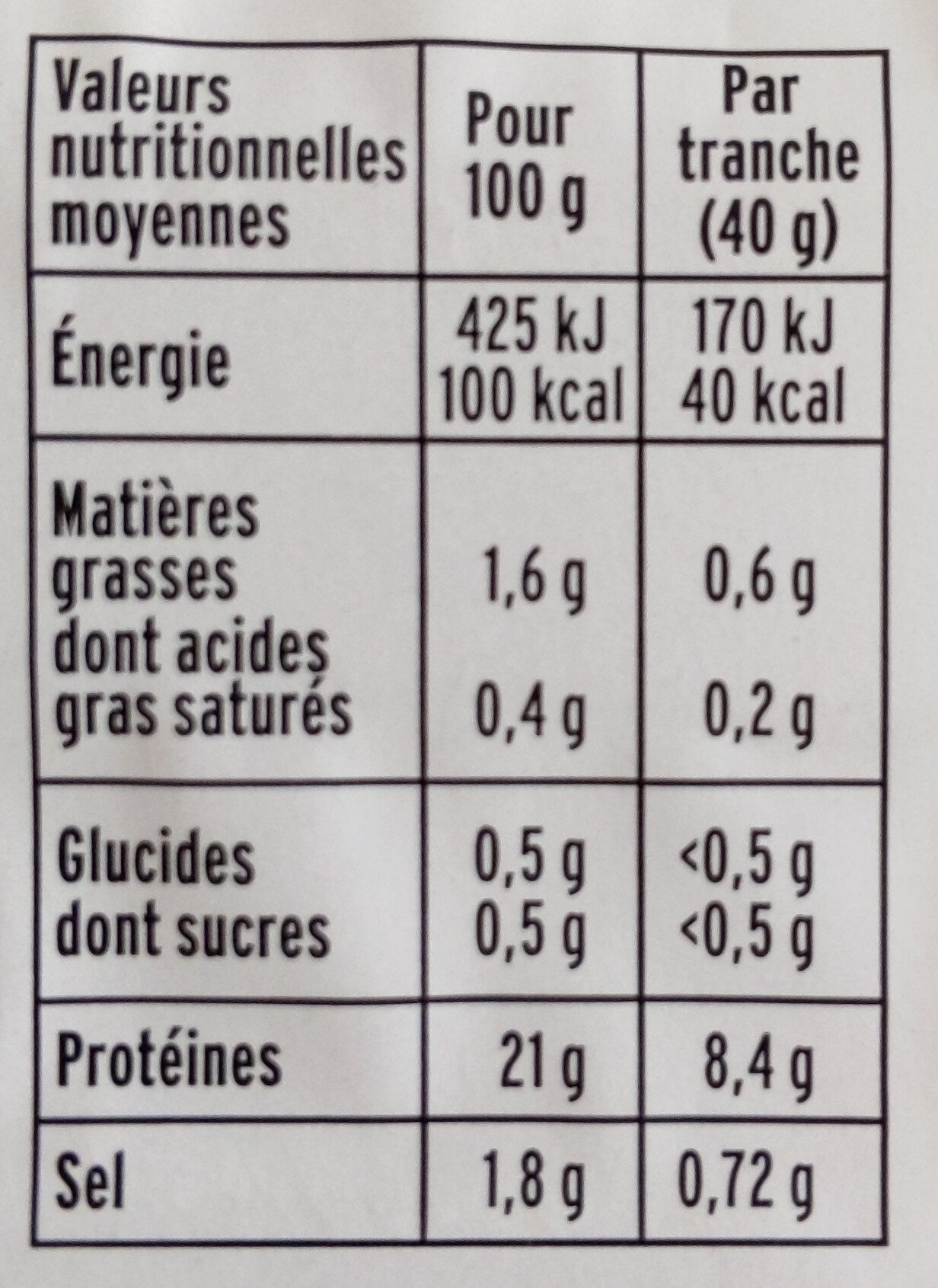 Blanc de poulet doré au four - 4 tr - Nutrition facts - fr
