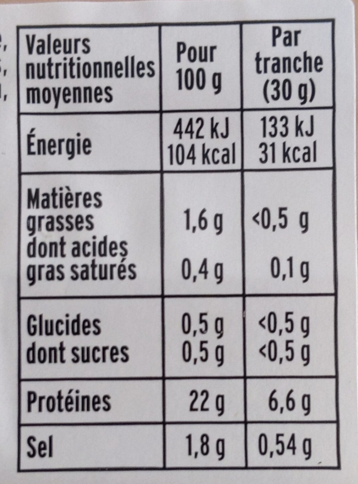Blanc de Poulet - Rôti à la Broche - Informations nutritionnelles - fr