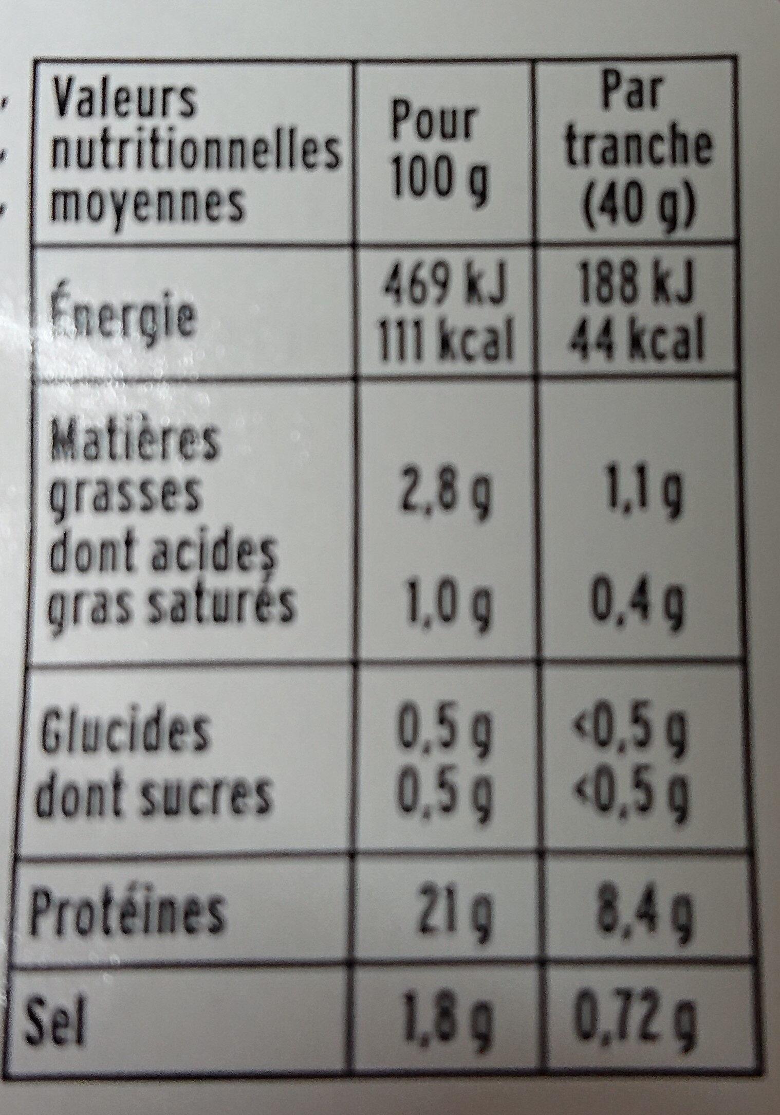 Le torchon - 4tr. - Valori nutrizionali - fr