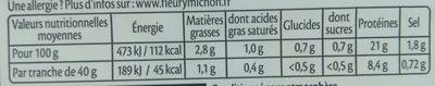 Le torchon Cuit à l'étouffée - 4tr. - Informations nutritionnelles - fr