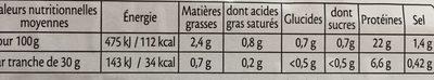 Jambon Le tranché fin -25% de sel - Informations nutritionnelles