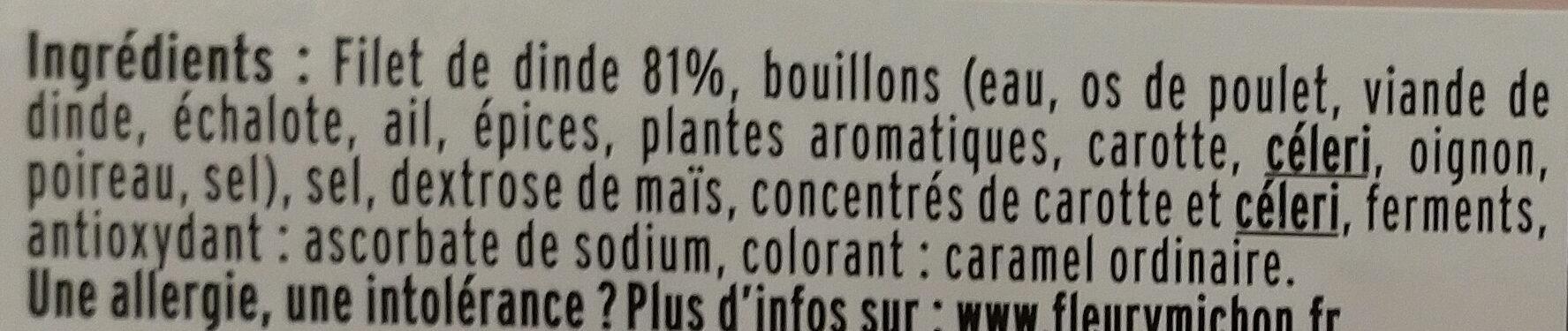 Blanc de dinde fumé - 4 tranches fines - Ingrediënten - fr