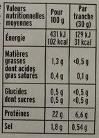 Blanc de dinde fumé - 4 tranches fines - Voedingswaarden - fr