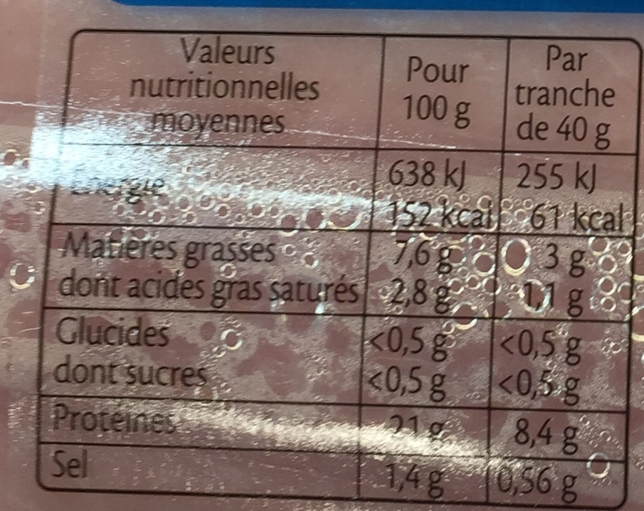 Le Tradition (-25% de sel) - Nutrition facts