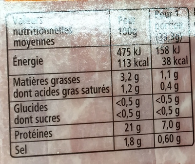 Recette à l'Italienne tranches fines nature - 6 tranches fines - Nutrition facts