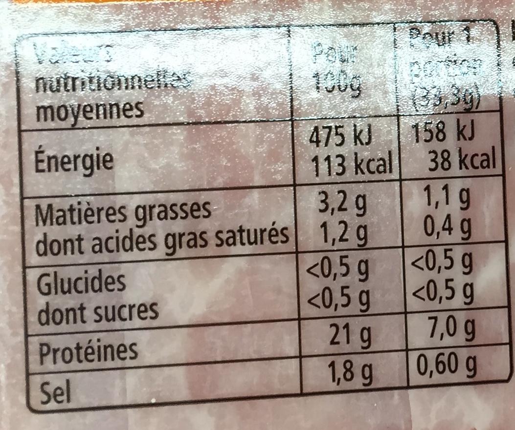 Recette à l'Italienne tranches fines nature - 6 tranches fines - Informations nutritionnelles - fr